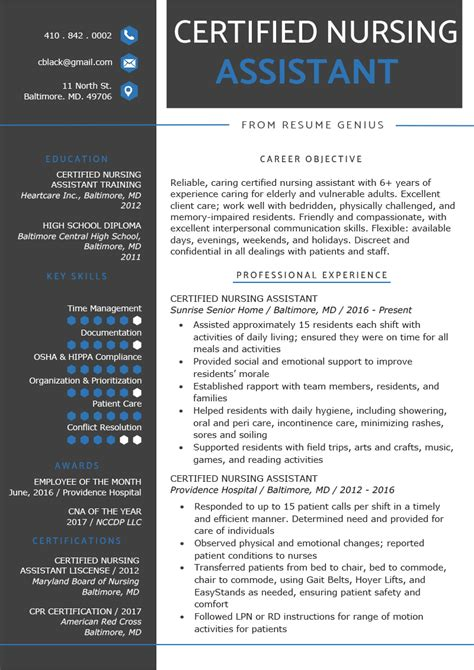 Cna Resume Template by Certified Nursing Assistant Cna Resume Sle Writing