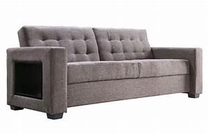 Canapé Lit Design : canap lit design tissu gris pi ce vivre ~ Teatrodelosmanantiales.com Idées de Décoration