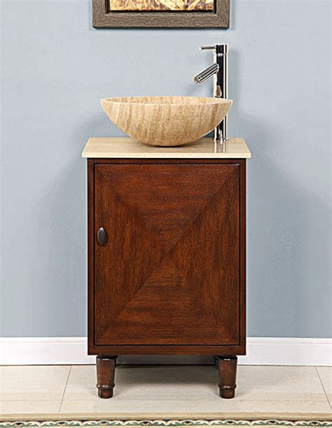 20 inch vessel sink bathroom vanity with a travertine top