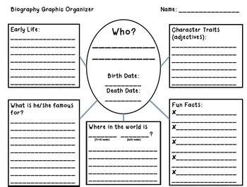 biography graphic organizer elementary by caine
