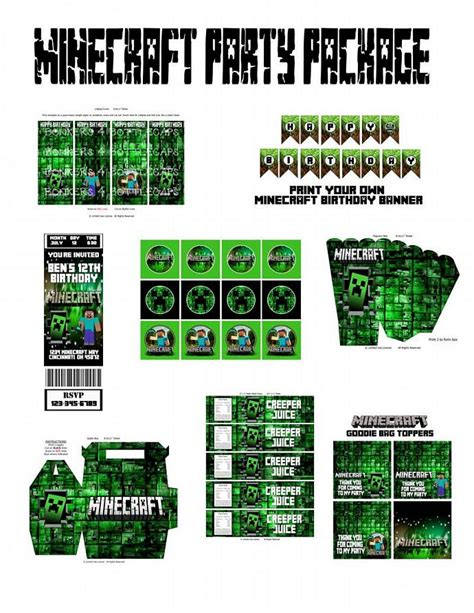 personalized minecraft party package  bonkersbottlecaps