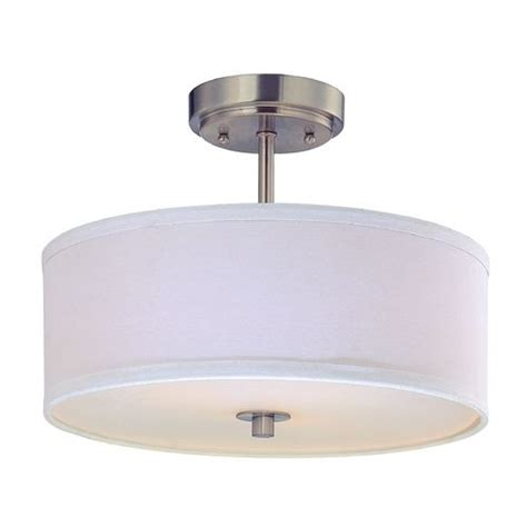 drum semi flush ceiling light with white shade 14 inches