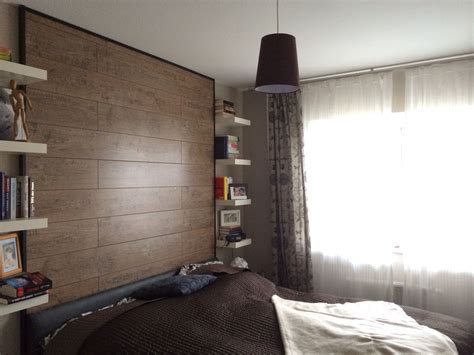 Wand Mit Laminat Verkleiden schlafzimmer wand mit laminat verkleidet finished diy