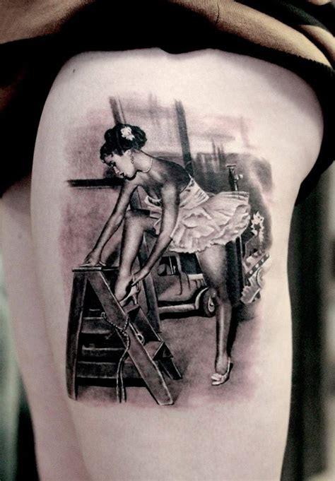 realism vintage dancer black grey  tattoo design