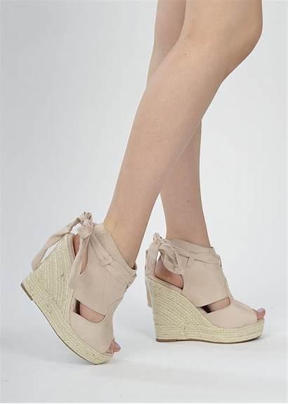 Wedge Toe Open Sandals Beige Shoelace Ie
