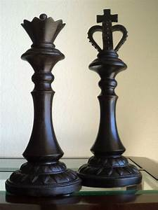 Large, Chess, Pieces, King, Queen, Distressed, Modern, Home, Library, Art, Decor, 13, U0026quot, New