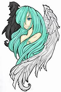 half dark and half light angel by ZombieofRock on DeviantArt