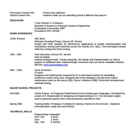 resume format for software developer in sle software developer resume 10 free documents in pdf word
