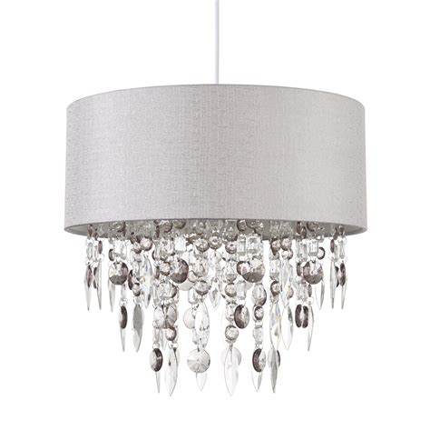 modern easy fit drum shade grey fabric ceiling pendant
