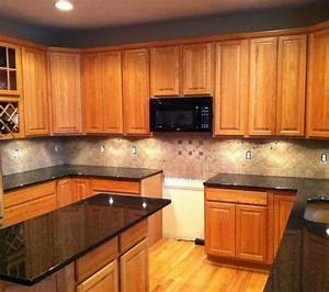 tile backsplash granite countertop oak colored With kitchen cabinets lowes with custom honey labels stickers