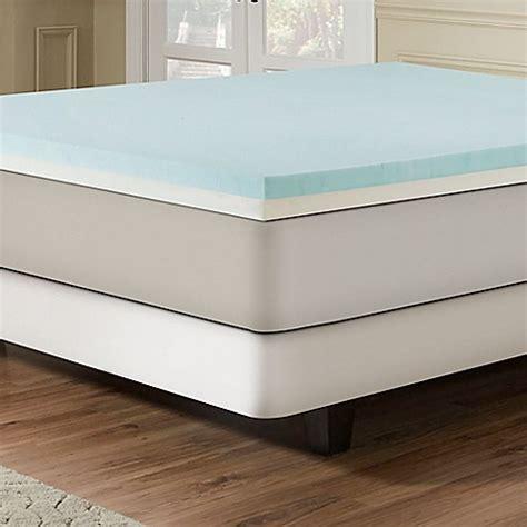 bed bath and beyond mattress topper combination gel memory foam 3 inch mattress topper in blue