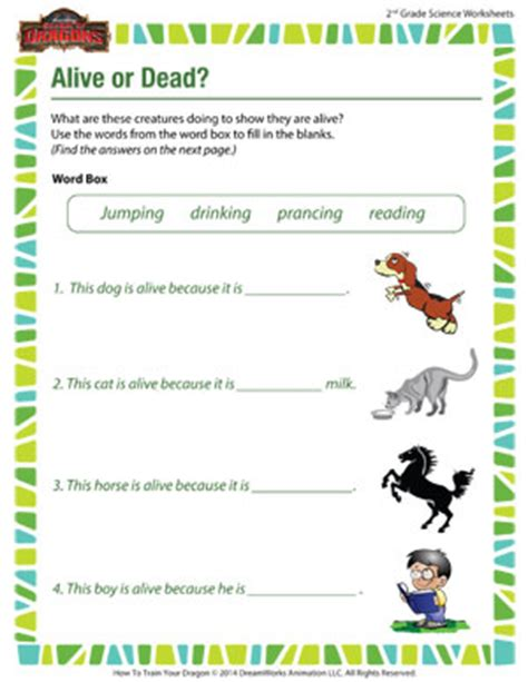 alive or dead science worksheets free for second