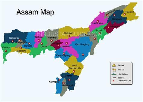 map  assam districtwise assam map pilgrimage centres