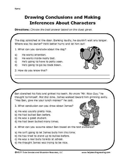 worksheets for inferences and drawing conclusions 12 best images of drawing conclusions worksheets 5th grade