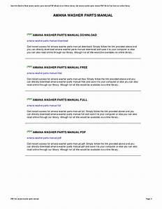 Amana Washer Parts Manual