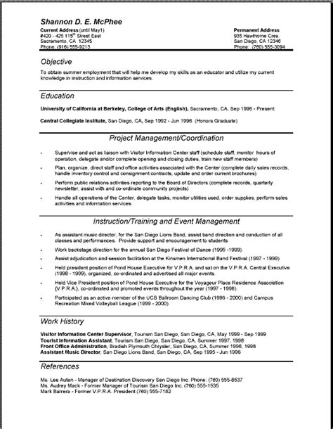 professional resume format schedule template