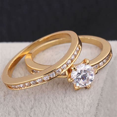 ring design jewelry 18k gold plated engagement ring set ring design ring in rings