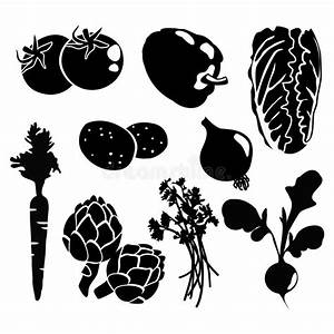 Black Isolated Vegetables Silhouettes Icons On Whi Stock ...