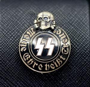 GERMAN NAZI WAFFEN SS SKULL & RUNIC PARTY BADGE - ANTIQ24.COM