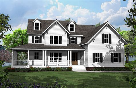 country home plans with porches 4 bed country house plan with l shaped porch 500008vv