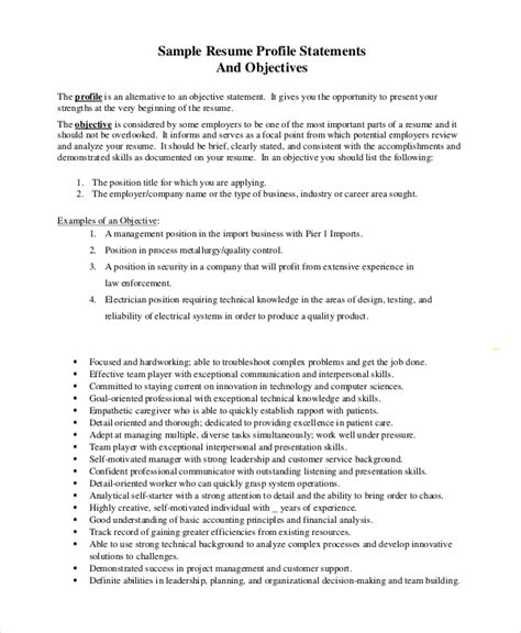 General Resume Objective Statements by Sle Objective Statement Resume 8 Exles In Pdf