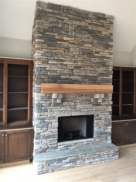 Simple Stone Fireplaces In Awesome Fireplace Stacked Stone