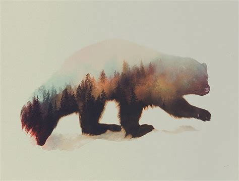 beautiful double exposure  blend wildlife  wild