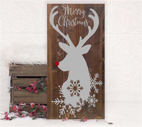 christmas reindeer vinyl wood sign  holiday
