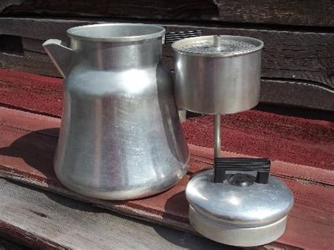 Camping coffee percolators have a basic construct. old WearEver #3012 aluminum coffee pot percolator for camp stove or fire