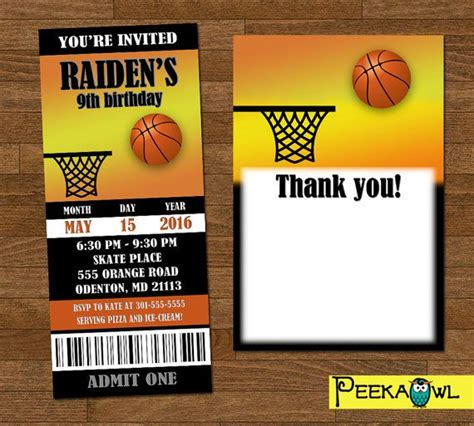 printable basketball invitation ticket customize