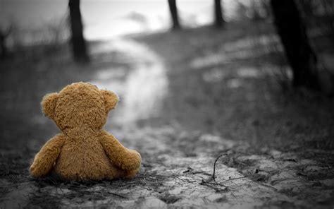 Gloomy Background Teddy Bears Selective Coloring Depth Of Field Gloomy