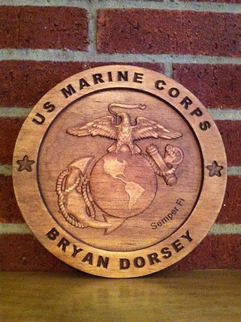 usmc personalized wood carved plaque sign military  etsy