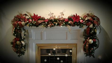 christmas fireplace mantel lighted garland xl deluxe luxury