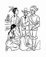 Coloring Pages Thanksgiving Pilgrims Sheets Pilgrim Indian Printable Jamestown Plymouth Colonial Trading Squanto Colony Worksheets Holiday Adults Native Turkey Americans sketch template