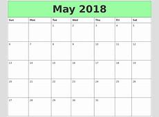 Free May 2018 Calendar in Printable Format Templates