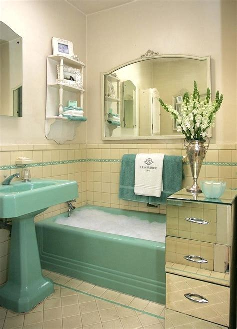 50s Style Bathroom With Storage Places  50s Bathroom