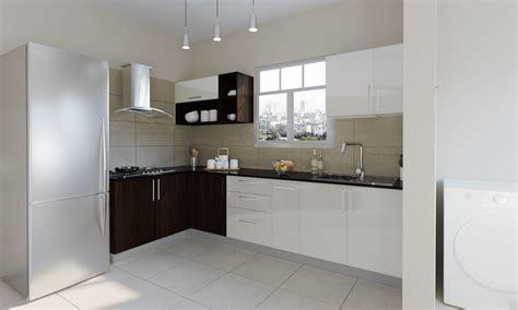 frosty white  wenge  shaped modular kitchen india