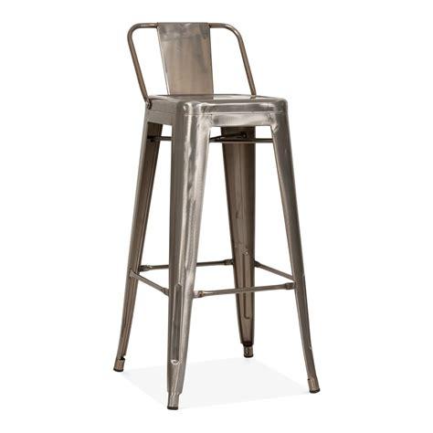 tolix style metal bar stool with low back rest gunmetal 75cm cult uk