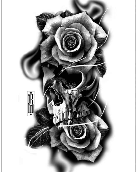 skull roses rose tattoo design digital blackandgrey bg tattoos tat   smoke tattoo
