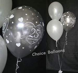silver 25th wedding anniversary balloons 10 table With 25th wedding anniversary balloons decorations