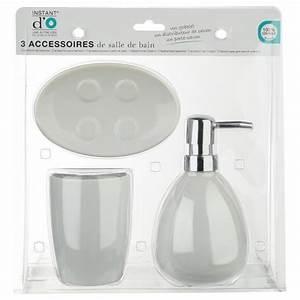 Accessoires De Salle De Bain : set de 3 accessoires salle de bain blanc ~ Dailycaller-alerts.com Idées de Décoration