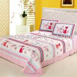 lovely pink cat applique bedding set quilt bedspread comforter wholesale 100 cotton handmade in