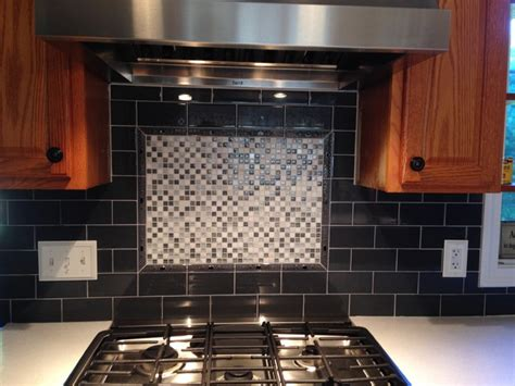charcoal ceramic subway  mosaic stove accent