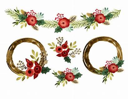 Clipart Christmas Borders Wreath Watercolor Graphics