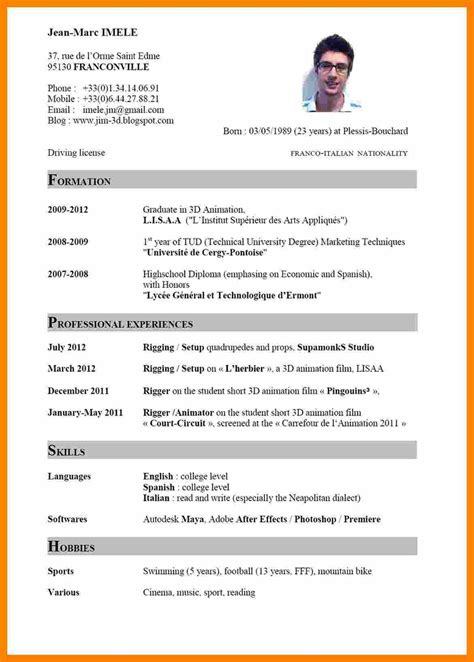 Curriculum Vitae Gratuit by Mod 232 Les De Curriculum Vitae Aikidobeaujolais