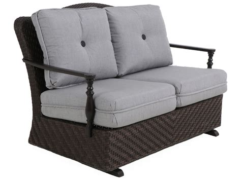 Paula Deen Outdoor Bungalow Tobacco Wicker Loveseat Glider