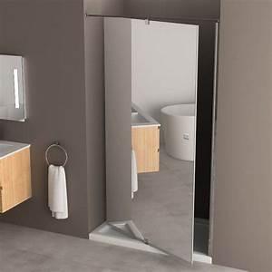 miroir a accrocher sur porte maison design bahbecom With porte de douche coulissante avec meuble de salle de bain 90 cm design