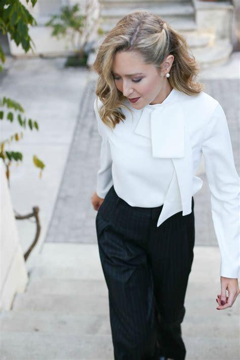 bow neck blouse pinstripe wideleg trousers tie neck blouse memorandum