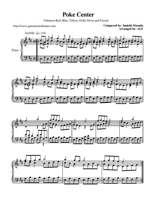game music themes pokemon red blue yellow sheet music