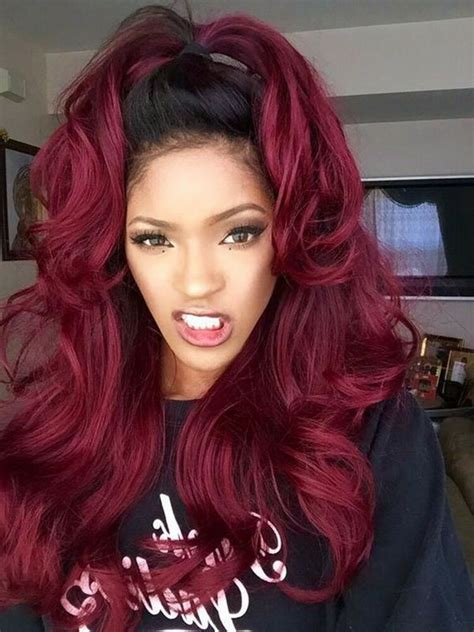 womens front lace wig ombre burgundy synthetic hair long